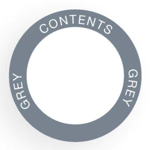 Etikett för utomhusbruk, rund, grå