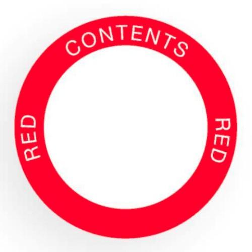 Etikett för utomhusbruk, rund, röd