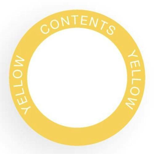 Etikett för utomhusbruk, rund, gul