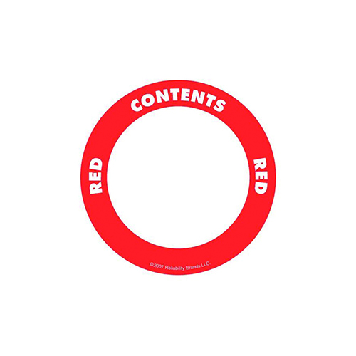 Självhäftande etikett, rund, röd