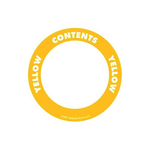 Självhäftande etikett, rund, gul