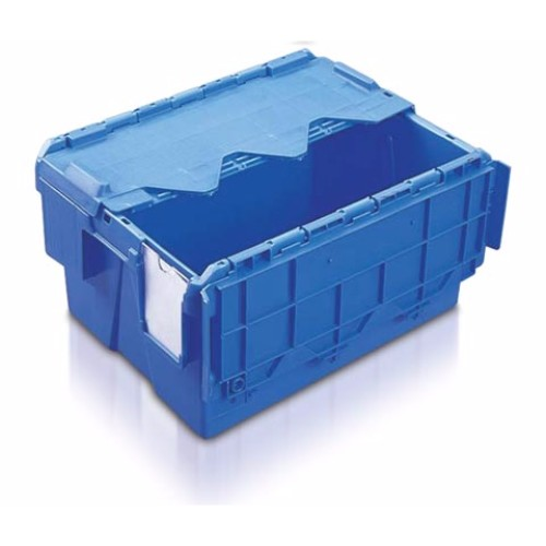 Konisk plastlåda med tvådelat lock, blå