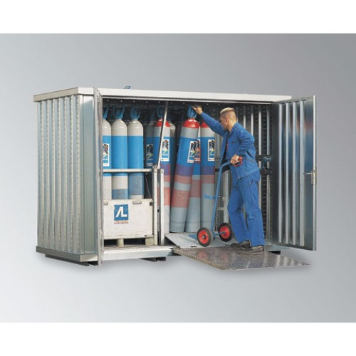 Gasflaskcontainer GLH 3x2  Förzinkad Lackerad Blå
