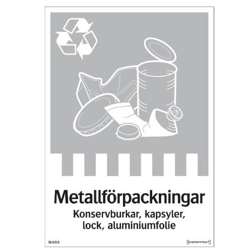 Dekal för Metall, källsortering