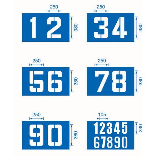 Schabloner i förstärkt kartong Siffror 0-9