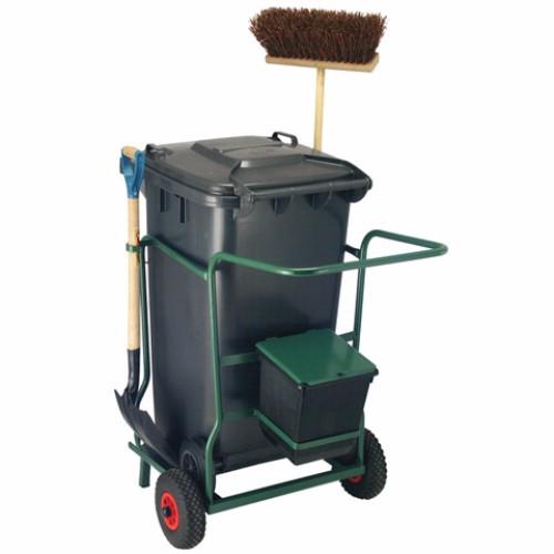 Vagn med 240 l avfallsbehållare